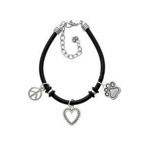 Large Silver Paw Black Peace Love Charm Bracelet Arts
