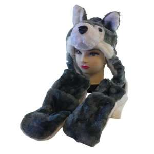 Cute Animal Hat  Plush Wolf Animal Hat   Wolf Hat with Ear