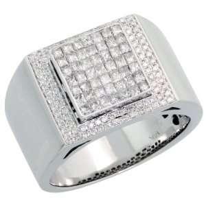 14k White Gold Mens Diamond Ring, w/ 1.02 Carats Brilliant Cut