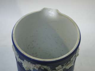 WEDGWOOD JASPERWARE PITCHER JUG PORTLAND DARK BLUE WHITE JASPER