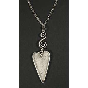 Silver Primitive Patera Heart Necklace Arts, Crafts & Sewing