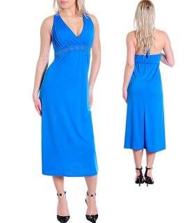 WOMANS PLUS SIZE BLUE HALTER MAXI DRESS 2XL 18/20 NEW