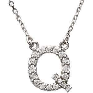 14k White Gold Diamond Q Alphabet Initial Letter Necklace