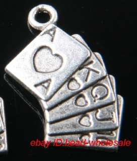 Free 14pcs tibetan silver playing card charms pendants