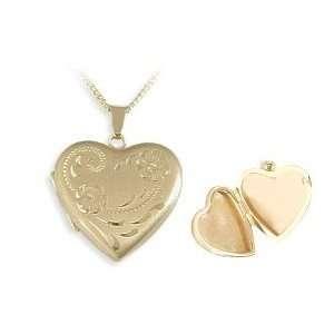 Ladies Designer 10 karat Yellow Gold Heart Locket with 16