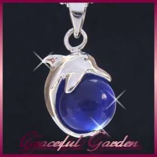 Cat Eye Stone Cute Playing Dolphin Design Pendant Necklace