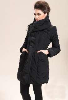 NWT Womens Winter Coat Big Collar Falbala Drape Warm Coat Jacket Black