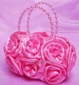 BN Pink Satin Evening Wedding Party Pageant Handbag Bag