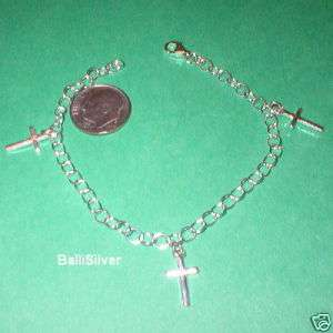 pieces Sterling Silver 925 CROSS Charms BRACELETS Lot