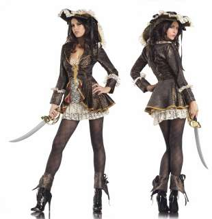 RUM PIRATE 4 PC COSTUME LACE TUBE DRESS, JACKET, BOOT COVERS AND HAT S