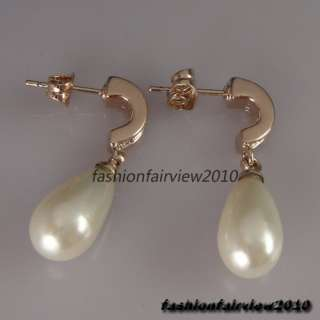 18K Rose Gold GP Pearl Ball Swarovski Crystal Dangle Ear Studs