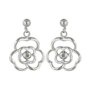 Sterling Silver Plain Flower with 2 diamonds Earrings