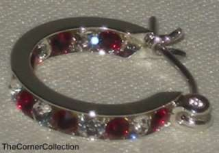 SWAROVSKI CLEAR & GARNET CRYSTALS SILVER PLATE HOOP EARRINGS JANUARY