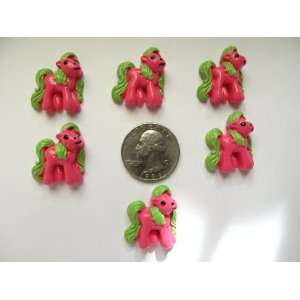 6 Resin Cabochon Flat Back Hot Pink Pony for Cellphones