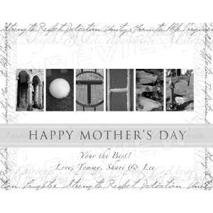 Personalized Happy Mothers Day Alphabet Art (White