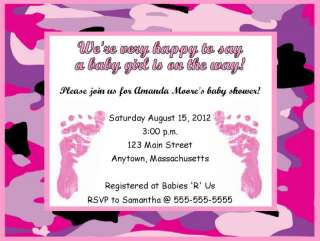 Girl Pink Feet Camouflage Baby Shower Invitations Personalized