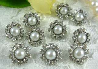 10 Sparkling Crystal/Rhinestone Pearl Buttons N008