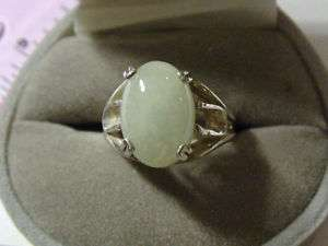 Mens Light Green Jade Ring~Sterling Silver~Size 8