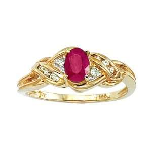 03 ct. Diamond and 3/4 ct. Oval Shaped Ruby Ring Katarina Jewelry