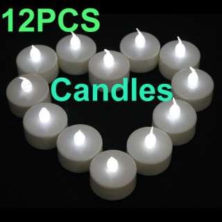 12 White LED Flameless Tea Light Candle Wedding Party