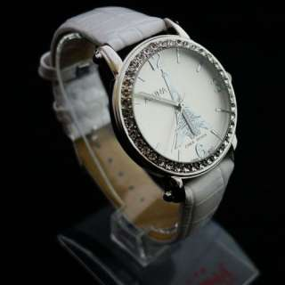 New Crystal Decorated Eiffel Tower ladies women white leather wrist