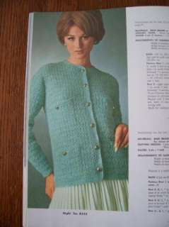 VTG 60S SWEATERS UP TO SZ 44 KNIT CROCHET PATTERNS BOOK