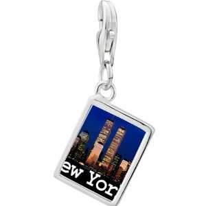 Silver Gold Plated Travel New York City Photo Rectangle Frame Charm