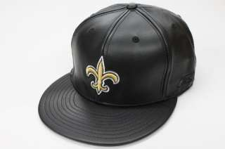 New Orleans Saints NFL Black Leather Reebok Fitted Cap