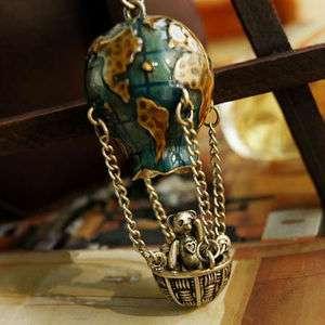 Originality globe fire balloon nacelle bear Bruin Charms pendant