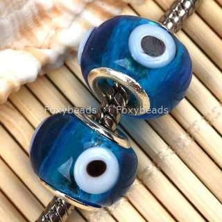 Blue Lampwork Glass EVIL EYE Bead Fit Charm Bracelet 5X