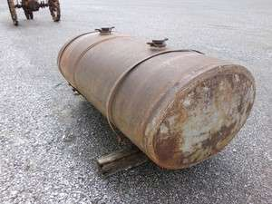 VERY OLD METAL FUEL DELIVERY TANK FUEL TRUCK TANK 2 COMPARTMENT