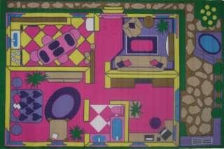 Pink Dollhouse Play House Play Kids Fun Nylon Area Rug