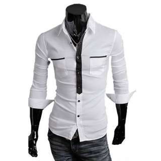 New Mens Slim Casual Shirt Long Double Pocket Cotton Stylish Button up