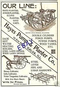 NICE 1899 HAYES CORN PLANTER & PUMP AD GALVA ILLINOIS