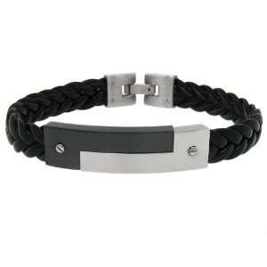 Moise Stainless Steel Mens Black Leather Bracelet