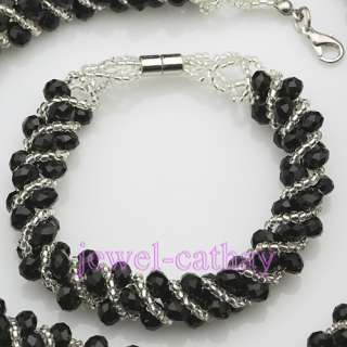 White & Black Twine Faceted Crystal Beads Necklace Bracelet Earring