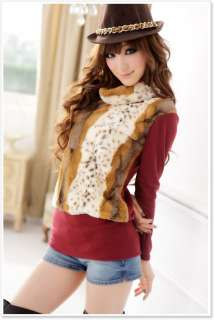 SWM Womens Trendy Turtleneck Korea Leopard Tops Shirt Faux Fur Stylish