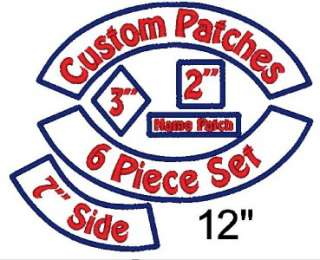 Piece Custom Embroidered Patch Set   Rockers Name Square Side