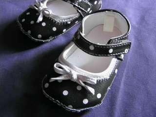Infant Baby Girl Dark Brown & Pale Pink POLKA DOT Crib Shoes PINK Size