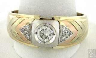 14K TRI COLOR GOLD 0.44CT VS2/H DIAMOND MENS WEDDING BAND RING