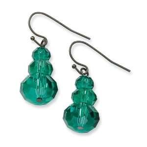 Black plated Dark Green Crystal Dangle Earrings Jewelry