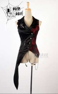 womens fashion punk goth asymmetric vest jacket top S XL FREE