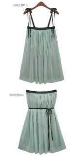 Fancyqube Gossip Girl Chiffon Mini Dress Top Tunic Green Shirt