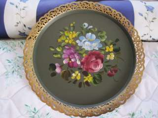 Painted Openwork Gold Rim Toleware Tole Tray Country Cottage Green