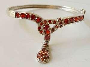Garnet CZ Hinged Bangle, Red Garnet CZ Sterling Hinged Bangle Bracelet