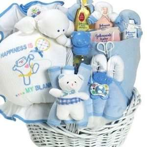 Happiness is a New Baby Boy Gift Basket for Newborns Baby