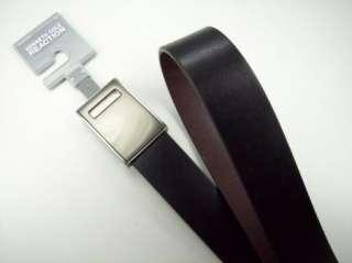 Cole Mens Leather Belt Black Brown Reversible Nickel Buckle NWT $40
