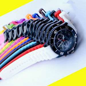 POP 13 Candy Colors Jelly Unisex Quartz Sport Silicone Rubber Gel