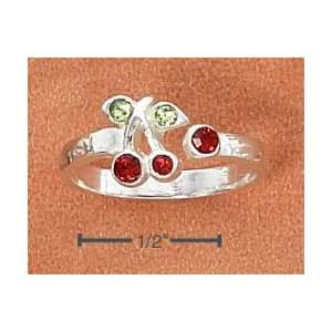 Cherries with Red & Green Crystals Open Wrap Toe Ring