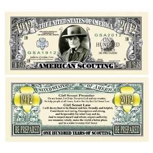 100 BILLS SCOUTING (GIRL SCOUTS) 100th ANNIVERSARY BILL Toys & Games